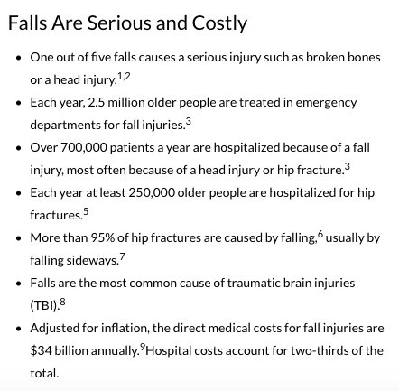 Data on Senior Falls
