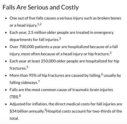 Data on Senior Falls